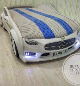 Кровать Машина мерседес белый