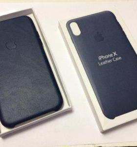 Чехол iPhone X Leather Case Blue