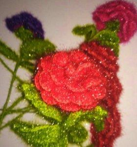 Розы из пряжи