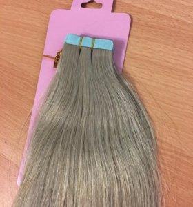 Волосы на лентах,55 см пепельный блонд