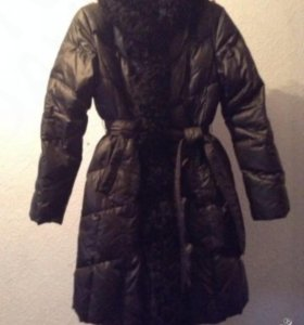 Пальто пуховик Clasna с каракулем