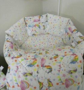 Бортики подушки, комплект для детской кроватки.