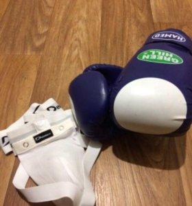 Боксёрские перчатки Green Hill и бандаж Demix