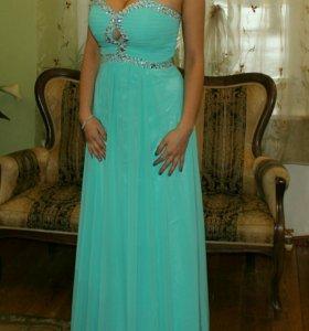 Платье бирюзовое в пол