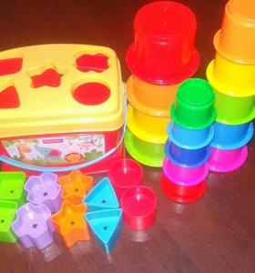 Развивающие игрушки (Сортер + стаканчики пирамида)