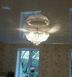 Натяжные потолки и укладка напольных покрытий