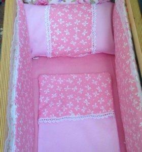 Комплекты в кроватку для кукол, подушечки.