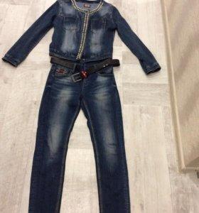 Джинсовая куртка и джинсы