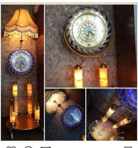Столик светильник часы