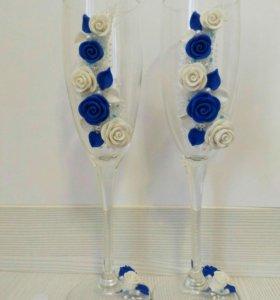 В наличии Свадебные бокалы из полимерной глины