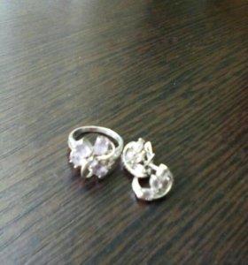 Набор. Серьги и кольцо. Фионит, аметист.