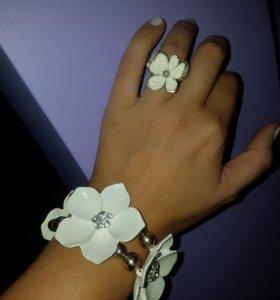 Комплект браслет и кольцо белый цветок🌸