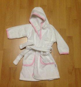 Детский махровый халат для девочки на 2-3 годика