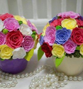 Цветочные миники в кашпо