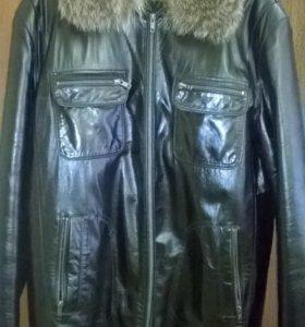 Куртка кожаная мужская зимняя на натуральном меху