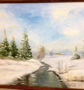 """""""Зима"""" картина масло, холст на подрамнике 40/50"""