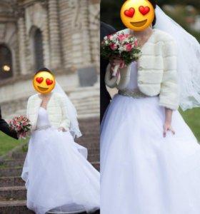 Свадебное платье с корсетом+фата+шубка белая