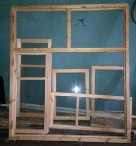 Оконный блок деревянный остекленный