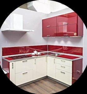 Кухня угловая пластик, бежевая/ кр МДФ Модульная-1