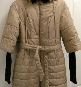 Зимнее пальто с капюшоном 46-48