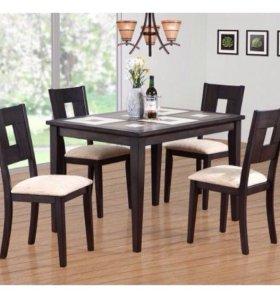 Стол с керамической плиткой и 4 стула из массива!