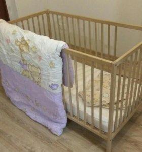 Детская Кровать ikea, матрас, новое одеяло и 2