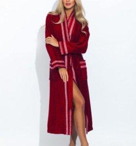 Женский махровый халат со вставками, бамбук, бордо