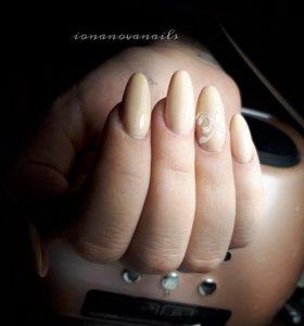 Наращивание ногтей. Покрытие гель-лаком , педикюр.