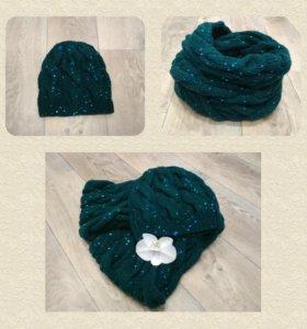 Зимний комплект ручной работы (шапка и снуд)