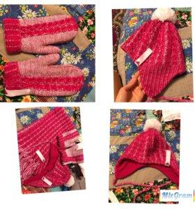 Шапка, шарф, варежки Adidas