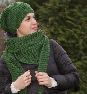 Зеленая шапка и шарф из толстой пряжи, шерсть