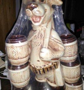 Новая бутылка собака сувенир + 6 рюмок