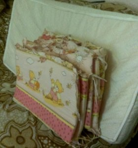Матрас+бортики для кроватки