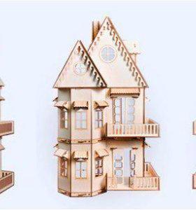 Большой кукольный дом из дерева с мебелью