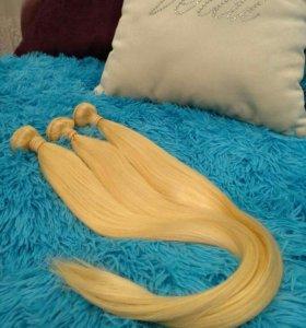 Волосы для наращивания блонд натуральные