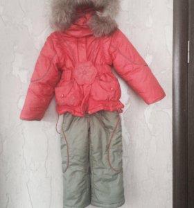 Продается зимний костюм (комбез+куртка) девочку