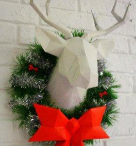 Новогодний подарок Венок Шикарный олень с бантом