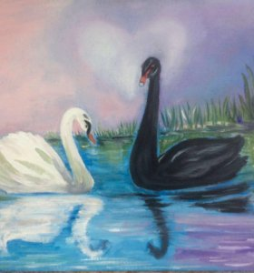 Картина маслом Чёрно-белая любовь(инь-янь)