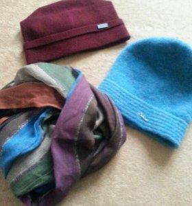 Шапочки, шарф+перчатки(новые)