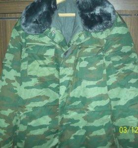 Зимний бушлат с тёплыми штанами камуфляж-берёзка