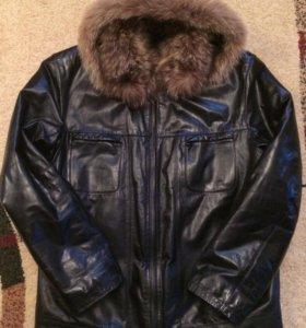 Куртка кожанная зимняя с капюшоном