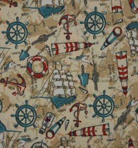 Курточная ткань Корабли (Taslan WR PU Milky)