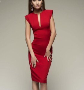 Платье-футляр красное
