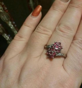Кольцо серебряное, старинное. Аметисты.