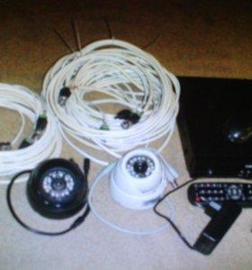 Комплект видеонаблюдения с двумя видеокамерами.
