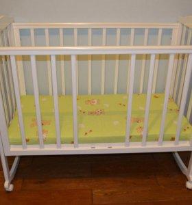Детская кроватка Лель+матрас+держатель балдахина