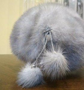Шапка-беретка из голубой норки