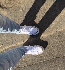 Converse кеды низкие синие и белые (оригинал)
