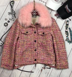 Куртка твид с натуральным мехом