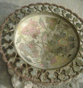 Старинная конфетница ваза латунь антиквариат